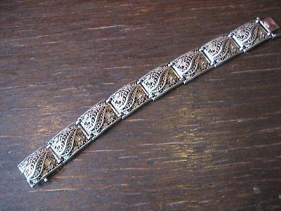 prächtiges breites Jugendstil Armband 835er Silber 19, 5 cm feine Filigranarbeit