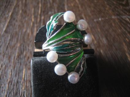prächtige moderne Designer Ring Blätter Perlen 925er Silber Emaille NEU RG 59