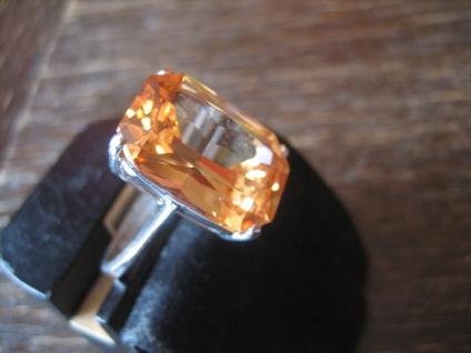 klassisch eleganter Mandarintopas Ring im Art Deco Stil 925er Silber RG 58 / 59 - Vorschau 2