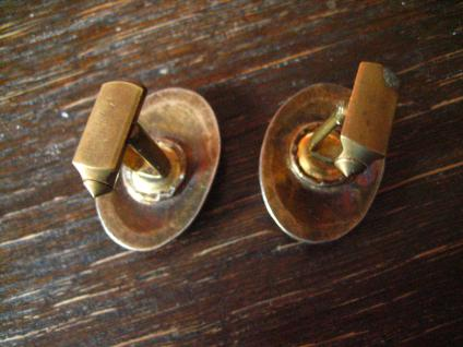 Rarität Vintage Designer Manschettenknöpfe Eule Kautz Uhu Emaille silber gold - Vorschau 4