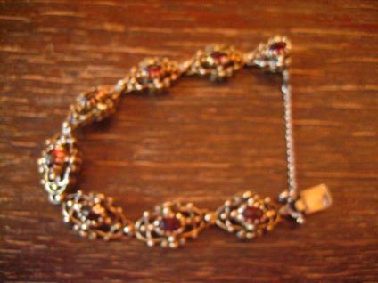 prächtig verziertes antikes Granat Armband 835er Silber vergoldet Tracht Dirndl - Vorschau 3