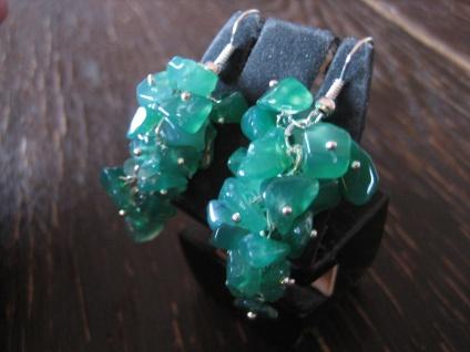 Rarität - lange prächtige Ohrringe Hänger grüner Onyx silber bewegliche Trauben