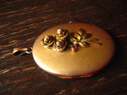 nostalgisches Jugendstil Medallion Anhänger Rose gold Double plastische Rosen - Vorschau 2