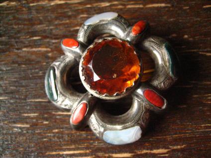 Biedermeier Brosche Achat Schottland Silber victorian scottish pebble brooch
