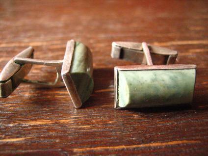 ausgefallene Jugendstil Manschettenknöpfe grüner Stein grün Jaspis 800er Silber - Vorschau 2