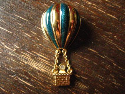 herrliche Vintage Brosche Ballon Heißluftballon gold original Christian Dior sig