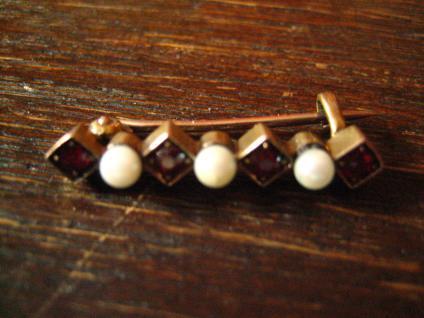 elegante Jugendstil Krawattennadel Stabnadel Brosche Granat Perlen 585er Gold - Vorschau 5