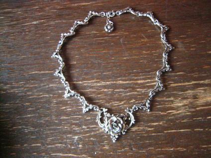 reizvolles Trachten Dirndl Rosen Collier Kette im Antik Stil silber super schön