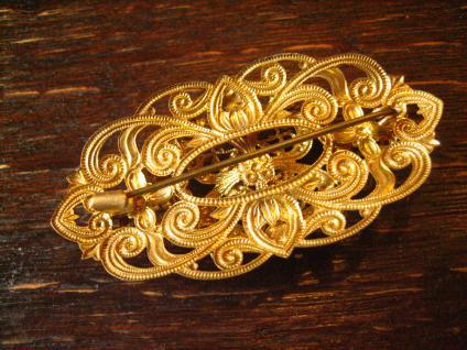 reizende Vintage Strass Brosche Alt Gablonz gold fliederfarbene Strass Steine - Vorschau 4