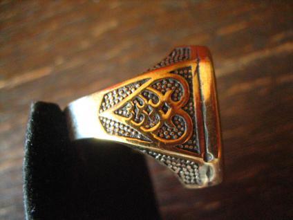 prächtiger Herrenring Adler Wappen reich verziert 925er Silber gold G 65 20, 5 mm - Vorschau 2