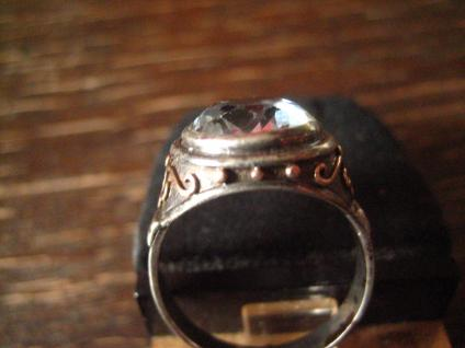 vintage Ring aquamarin Stein 835er Silber tolle Fassung gold 19, 5 mm RG 61 - Vorschau 3
