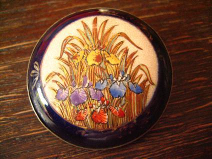 große Jugendstil Brosche feinste Miniaturmalerei Emailmalerei Lupenmalerei Iris