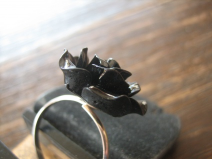 origineller Rosen Ring Black Rose 925er Silber Polyresin et Nox NEU verstellbar