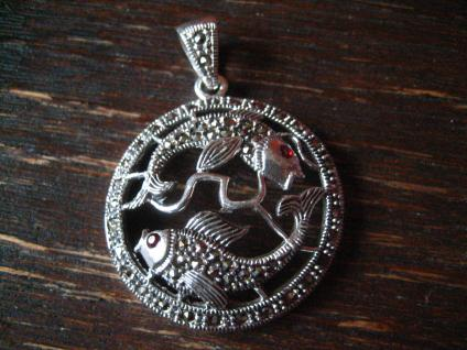 wunderschöner Markasit Anhänger 2 Goldfische Koi Karpfen 925er Silber Horoskop