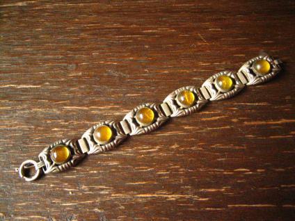 super schönes Art Deco Armband 835er Silber Steine gelb aufwändig verziert