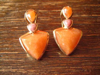 reizvolle moderne Ohrringe Stecker Ohrstecker 925er Silber gold Stein orange