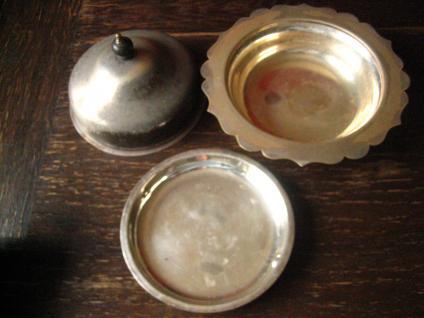 nostalgische Servierschale mit Haube silber pl Shabby Chic Muffin Dish 3teilig - Vorschau 3