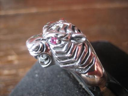 grimmig fauchender Tiger Ring Tigerkopf plastisch 925er Silber NEU et Nox RG 65