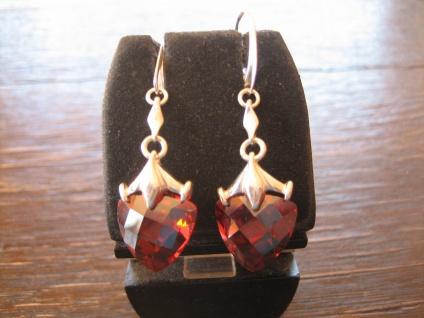 romantische zauberhafte Herz Ohrringe Hänger knall Rot 925er Silber Zirkonia NEU