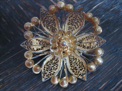 antike große Blüten Brosche 835er Silber gold feinste Filigranarbeit Handarbeit