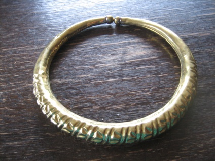 starker Boho Ethno Halsreif Collier Torque Afrika Messing gold Handarbeit Unikat