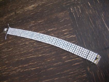 atemberaubendes Vintage Zirkonia Armband 925er Silber 1, 5 cm breit F. Binder
