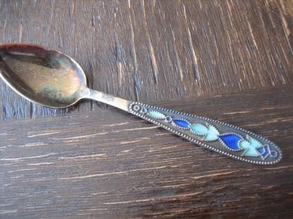 zauberhafter kleiner Löffel Teelöffel 875er Silber Emaille Russland emailliert blau türkis