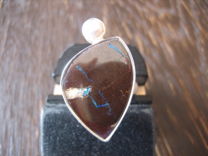 traumhafter Opal Ring Opalring Boulder Opal Perle RG 58 Neu Designer Unikat