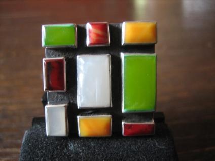 wuchtig & farbstark Designer Statement Ring Mosaik Unikat 925er Silber NEU RG 53