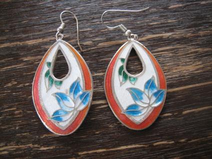 bezaubernde vintage Ohrringe Hänger Chandeliers Emaille blaue Blume wunderschön