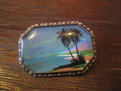 Traumstrand Meer Palmen Miniaturmalerei Strand Urlaub gemalt 925er Silber Unikat