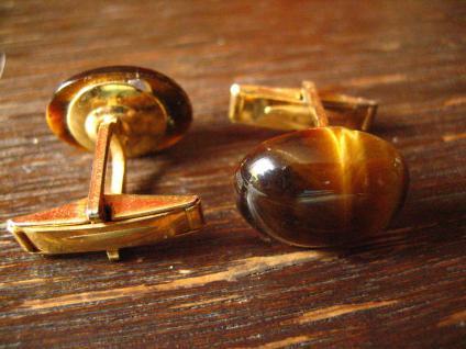 seltene vintage Manschettenknöpfe mit schimmerndem Tigerauge braun gold - Vorschau 3