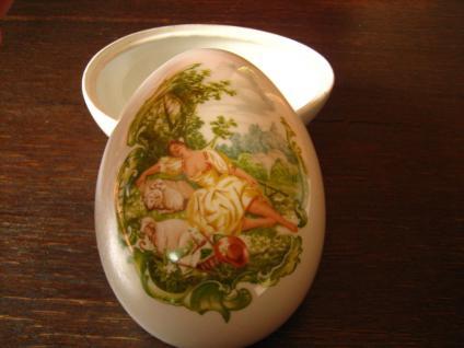 großes Porzellan Ei Dose Döschen Schatulle Porzellanei Watteau Szene zu befüllen