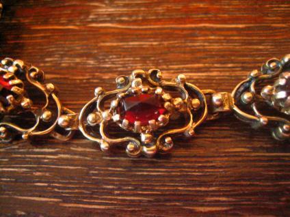 prächtig verziertes antikes Granat Armband 835er Silber vergoldet Tracht Dirndl - Vorschau 2