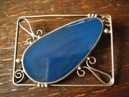 ausgefallene Designer Vintage Silber Brosche Achat Druse blau Arts & Crafts - Vorschau 3