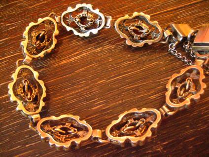 prächtig verziertes antikes Granat Armband 835er Silber vergoldet Tracht Dirndl - Vorschau 4