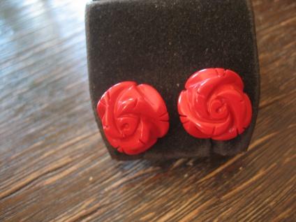 zauberhafte Ohrringe Stecker Rose Rosen Rote Koralle 925er Silber gold 15 mm NEU