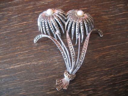 atemberaubende riesige Art Deco Markasit Brosche Blumen 925er Silber TOP Zustand