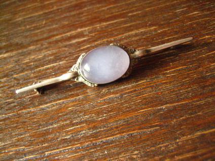 exklusive Art Deco Nadel Krawattennadel Brosche Chalzedon Chalcedon 830er Silber - Vorschau 2