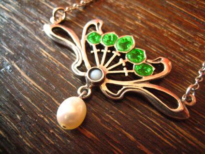 herrliches bezauberndes Jugendstil Collier Emaille grün Opal Perle 925er Silber - Vorschau 3