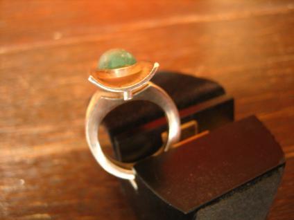 Exklusiver Vintage Designer Ring 935er Silber Chrysopras ausgefallen RG 52 - Vorschau 3