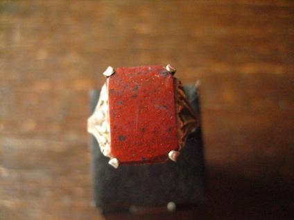 klassischer feiner Art Deco Ring Siegelring Jaspis 835er Silber 18 mm RG 57 - Vorschau 2