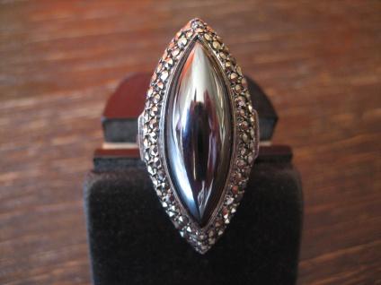 prächtiger Art Deco Markasit Ring Schiffchenring 925er Silber TOP Zustand RG 56