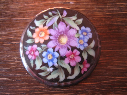 vintage Miniaturmalerei Porzellanmalerei Brosche üppige bunte Blüten Schumann B