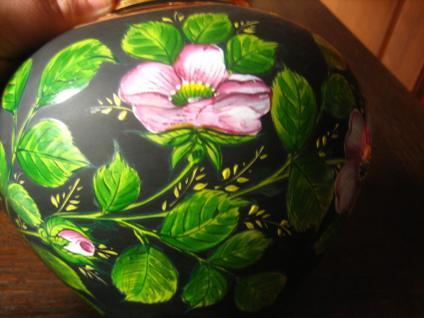 große Glas Vase schwarz traumhafte Rosen Malerei Emailmalerei Rose Unikat - Vorschau 3