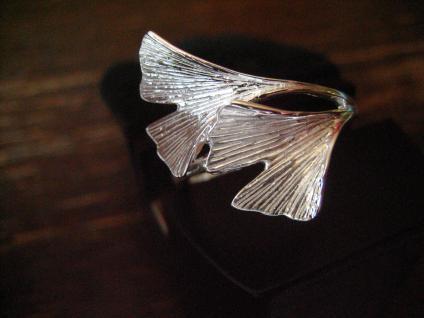 super tolle Gingko Ginkgo Blatt Ohrringe Stecker 925er Silber gold 2 Blätter - Vorschau 4