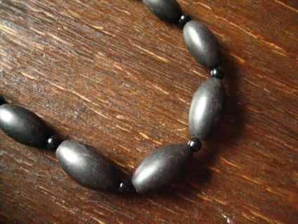 Biedermeier Trauerschmuck Collier Kette große schwarze Jett Oliven 52 cm lang - Vorschau 2