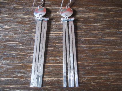 ultralange super schöne Statement Ohrringe Hänger 925er Silber 7, 5 cm lang NEU