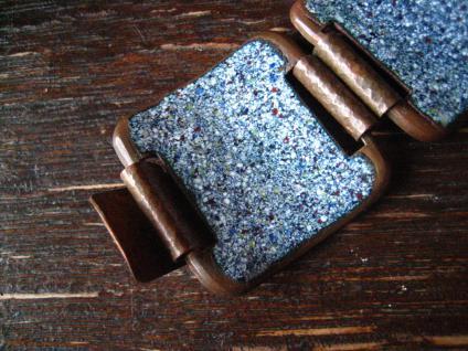 traumhaftes Vintage Designer Emaille Armband strahlend blau Blüten 2, 8 cm breit - Vorschau 4