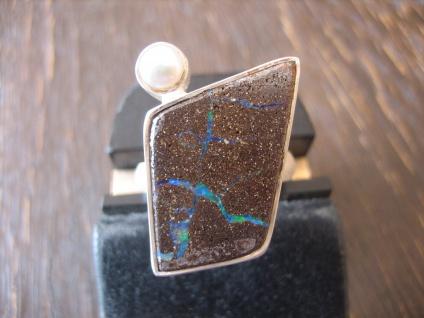 exklusiver Opal Ring Opalring Boulder Opal Perle RG 58 Neu Designer Unikat
